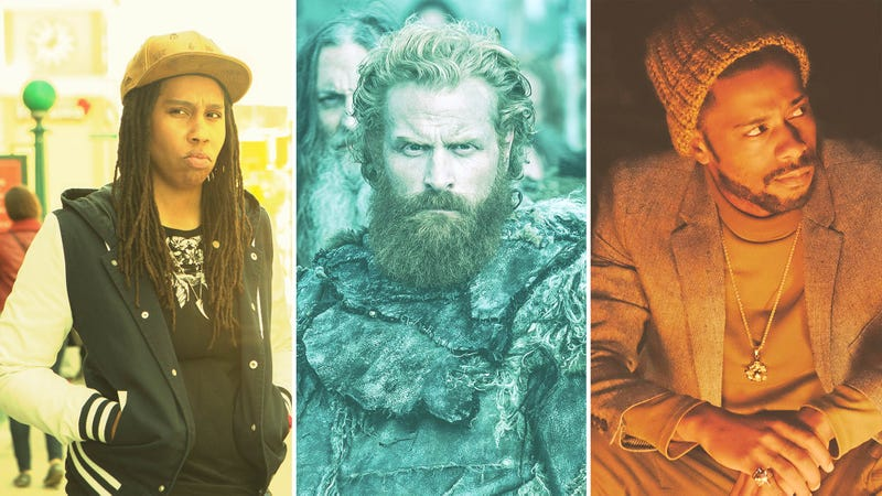 Lena Waithe (Photo: KC Bailey/Universal Television/NBCU Photo Bank via Getty Images), Kristofer Hivju (Screenshot: Game Of Thrones), and Lakeith Stanfield (Photo: Guy D'Alema/FX). Graphic: Allison Corr.