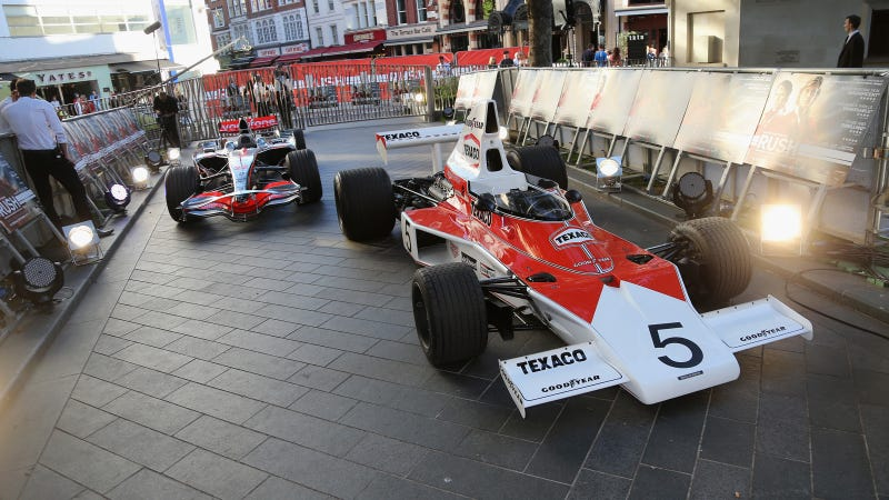 Illustration for article titled Two Real F1 Cars Showed Up Everyone At The RUSH Premiere In London