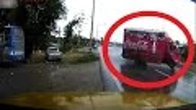 TireShredding CocaCola Truck Just Barely Saved From Spectacular Crash