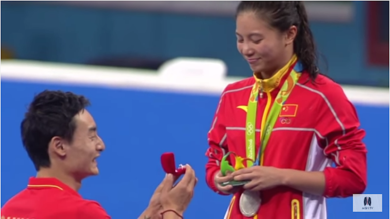 Chinese Olympic Diver Gets Engaged on the Podium After Winning Silver Medal