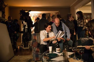 Actor Oscar Isaac and writer David Simon  on the set of Show Me a Hero, which premieres Aug. 16 on HBO.Paul Schiraldi/HBO