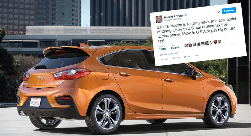 Illustration for article titled Donald Trump Threatens GM With 'Big Border Tax' In Half-Wrong Tweet