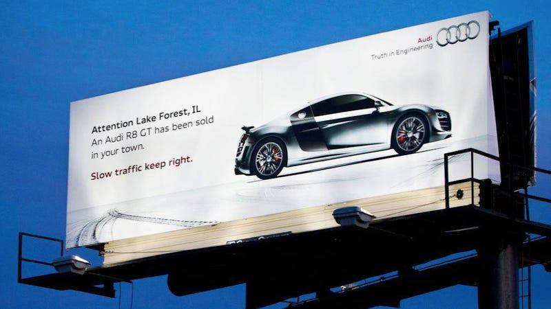 Ilration For Article Led Audi Dealer 39 S Brilliant Billboard Warns Of R8 Gt