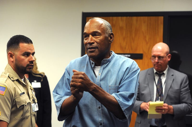 O.J. Simpson reacts after learning he was granted parole at Lovelock Correctional Center on July 20, 2017, in Lovelock, Nev.