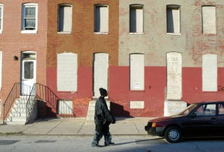 Boarded up row houses in east Baltimore, three blocks north of the Johns Hopkins University School of Medicine, Dec. 2, 2003Alex Wong/Getty Images