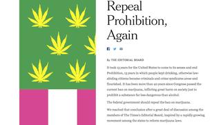 Illustration for article titled Vezércikkben áll ki a New York Times a legális marihuána mellett