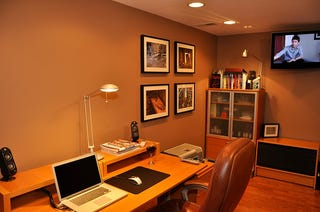 Illustration for article titled Earth Tones and Down Lighting: An Office Basement