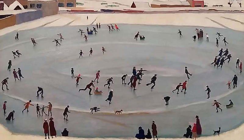 """""""Skaters"""", de Johan van Hell, ganador de la medalla de bronce en pintura en los Juegos de 1924. Bridgeman Art"""