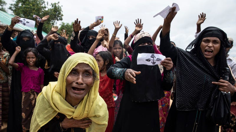 Rohingya women protest during the first anniversary of the Rohingya crisis