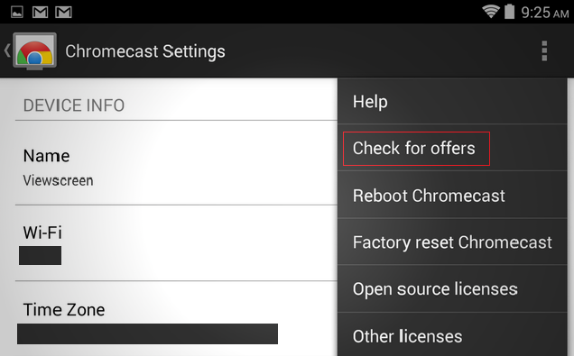 Chromecast promotion offer