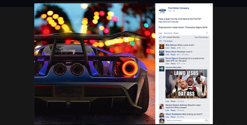Illustration for article titled What The Hell Is This Giant-Winged Ford GT On Ford's Facebook Page?