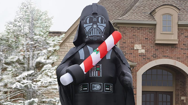 a 16 foot tall inflatable vader is holiday decorating done easy - Star Wars Blow Up Christmas Decorations