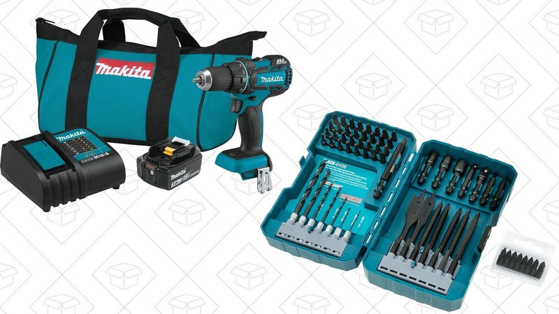 Makita Brushless 18V Drill/Driver + Contractor Grade Bit Set | $136 | Amazon