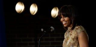 Michelle Obama speaking at the Savoy School (Win McNamee/Getty Images)