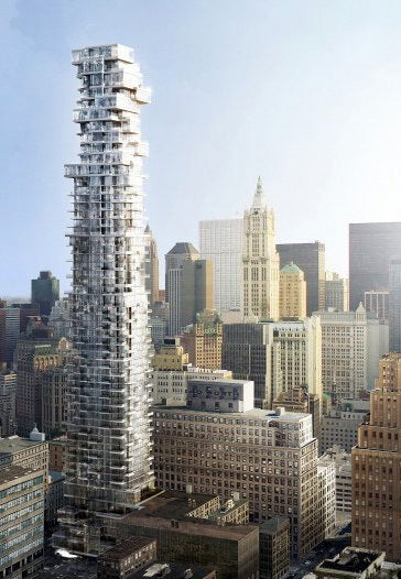 Illustration for article titled Twisty, Transparent Building Will Teeter Over Manhattan Skyline