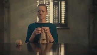 Serena Joy, reluctant knitter.