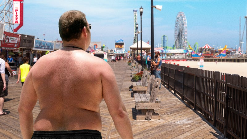 Illustration for article titled Amazing Phenomenon: America's Heavyset Sunburned Men Wearing Basketball Shorts As Bathing Suits Have Begun Their Annual Migration To The Jersey Shore's Boardwalk Punching Bag Arcade Games