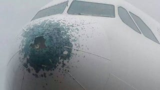 Illustration for article titled An Airbus A330 Recently Flew Into A Hailstorm -- And This Is The Result