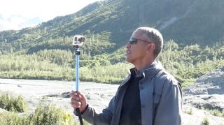 Illustration for article titled Obama's Running Wild Through Alaska With a Selfie Stick