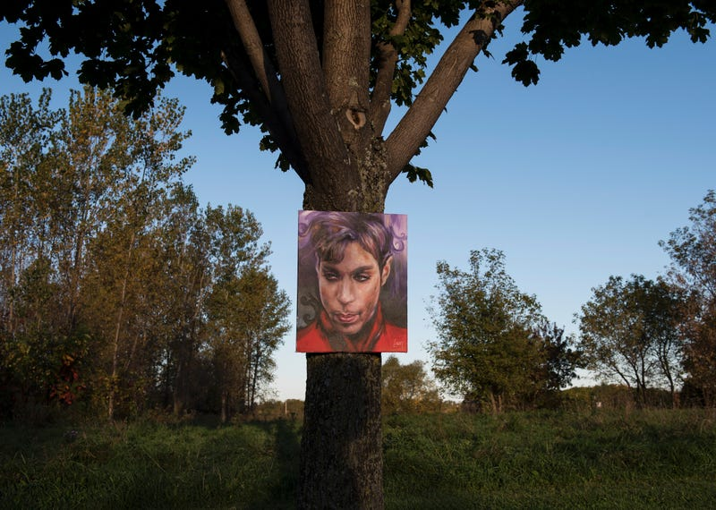 A portrait of Prince by artist Daniel Lacey hangs outside Paisley Park in Chanhassen, Minn., on Oct. 6, 2016, the first day his estate opened to the public as a museum.STEPHEN MATUREN/AFP/Getty Images