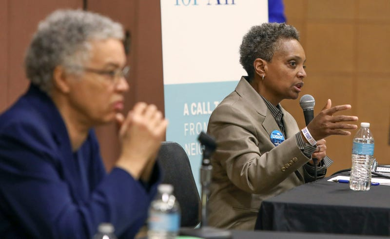 Chicago mayoral hopefuls Toni Preckwinkle and Lori Lightfoot at a March 2019 forum.
