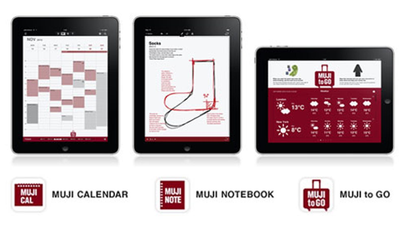 Calendar Notebook App : Muji apps provide an elegant notebook calendar and