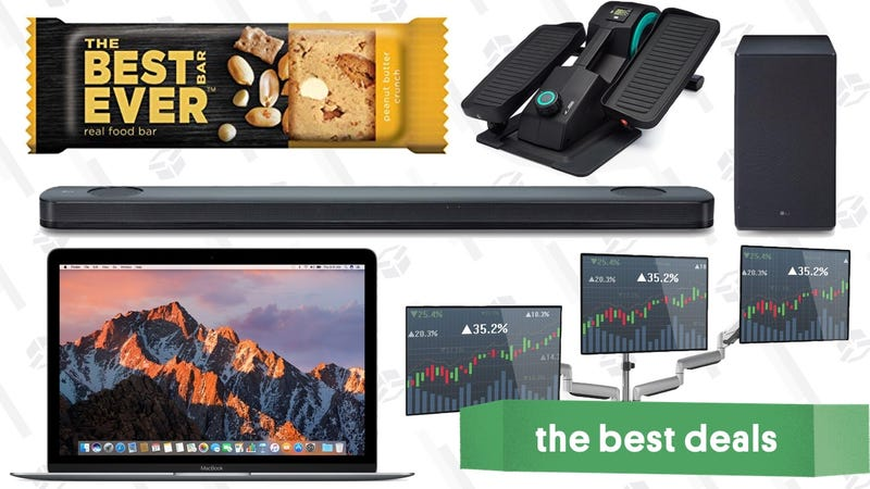 Illustration for article titled Friday's Best Deals: Atmos Sound Bar, Protein Snacks, Discounted MacBooks, and More