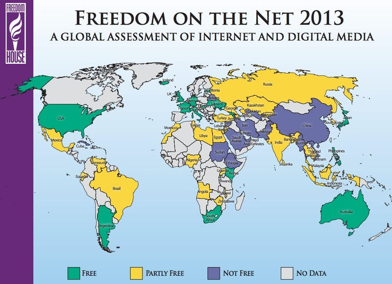 Illustration for article titled A Map of Internet Freedom Around the World