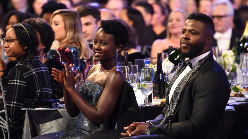 Actors Lupita Nyong'o and Winston Duke attend the 24th Annual Screen Actors Guild Awards at the Shrine Auditorium on Jan. 21, 2018, in Los Angeles.