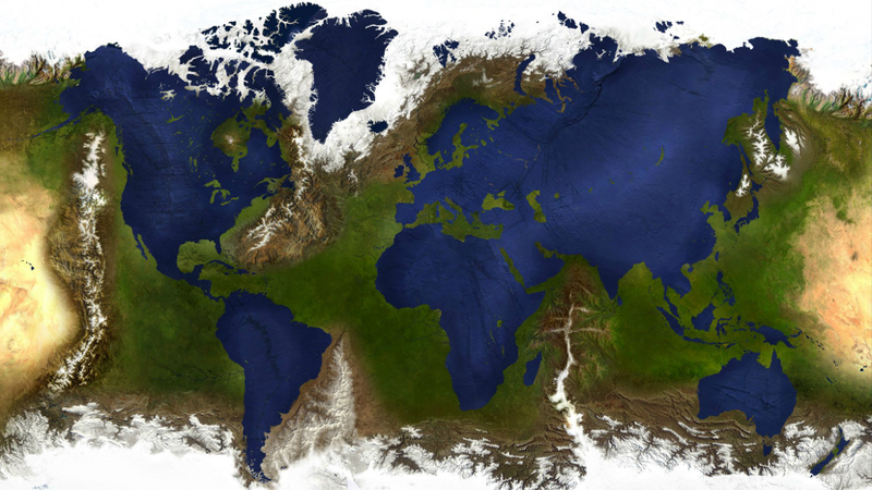 Illustration for article titled What Earth would look like with its oceans and landmasses swapped