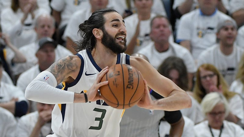 Illustration for article titled Grim And Gritty Ricky Rubio Will Be Grimly And Grittily Cheering From The Bench In Game 1 Of Jazz-Rockets