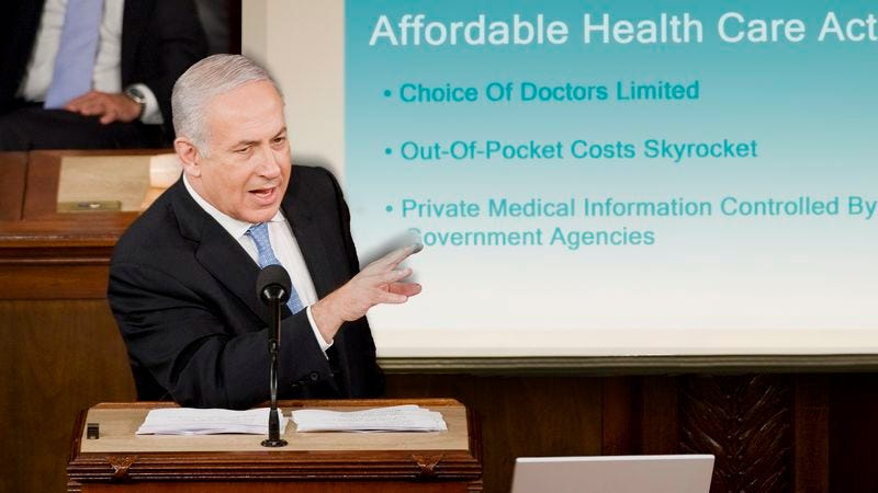 Illustration for article titled Netanyahu Doubles Down Against Obama With PowerPoint On Perils Of Affordable Care Act