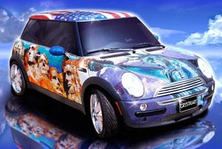 Illustration for article titled Mini Cooper Covered In One Million Swarovski Crystals... Is Proud To Be An American?
