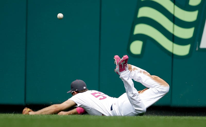 St. Louis Cardinals right fielder Stephen Piscotty is unable to catch a double by Pittsburgh Pirates' John Jaso during the seventh inning. Via AP.
