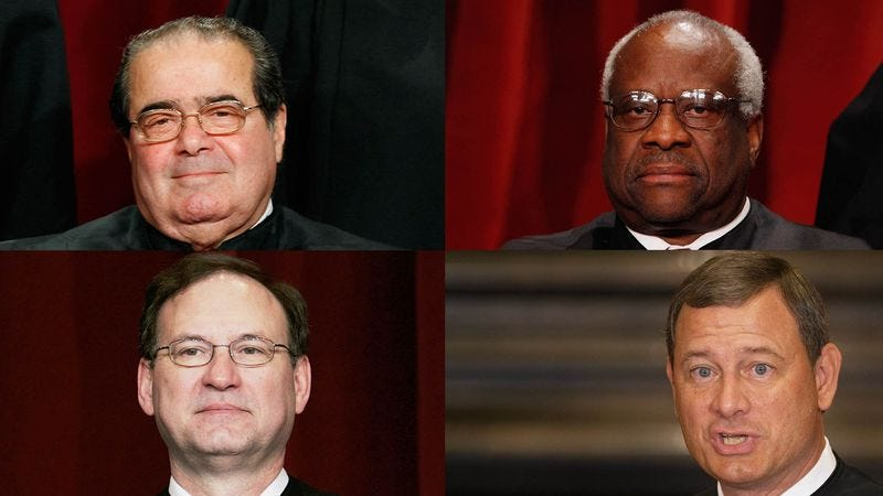 Illustration for article titled Scalia, Thomas, Roberts, Alito Suddenly Realize They Will Be Villains In Oscar-Winning Movie One Day