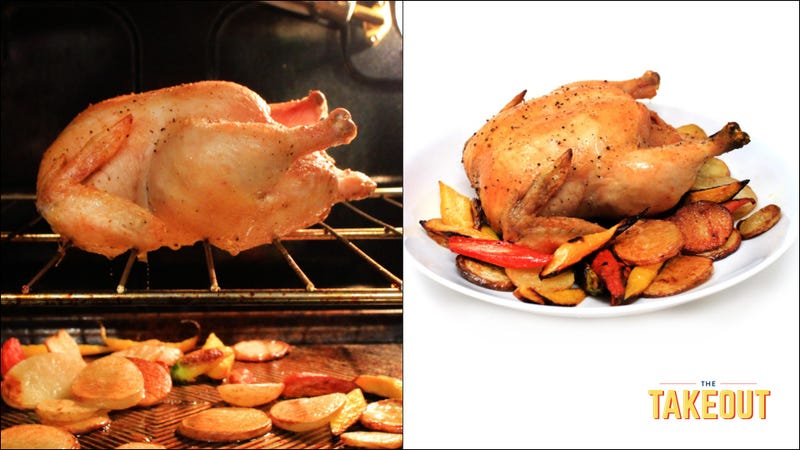 Illustration for article titled Roast a chicken right on the oven rack and let its delicious fat baste your vegetables