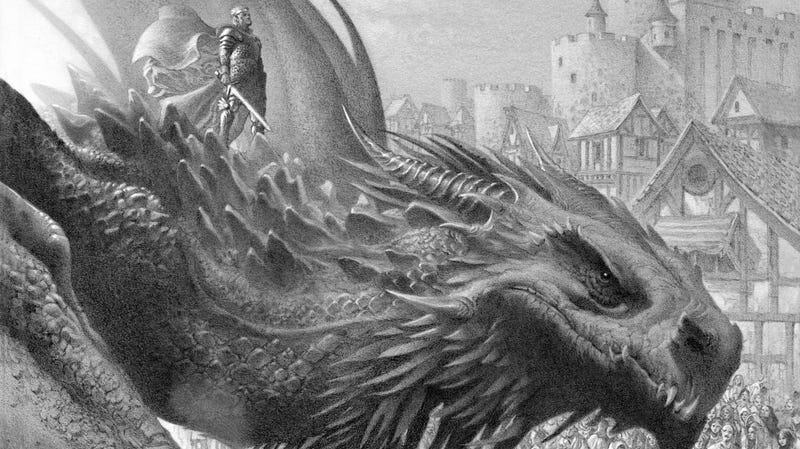 King Aegon I on Balerion the Black Dread.