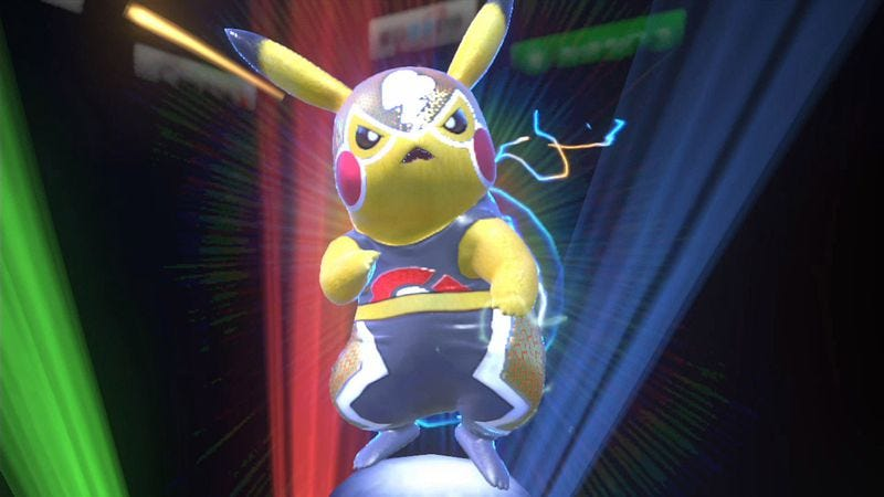 Pikachu takes up two slots in the character roster, but one of them is dressed as a luchador, so we'll allow it.