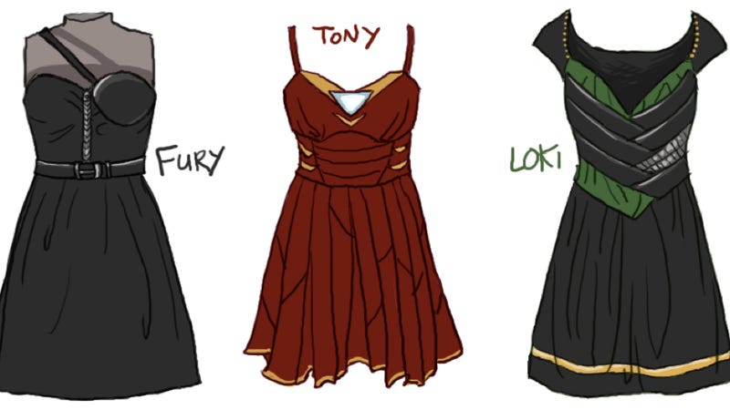 Illustration for article titled Seriously cute dresses inspired by costumes from The Avengers