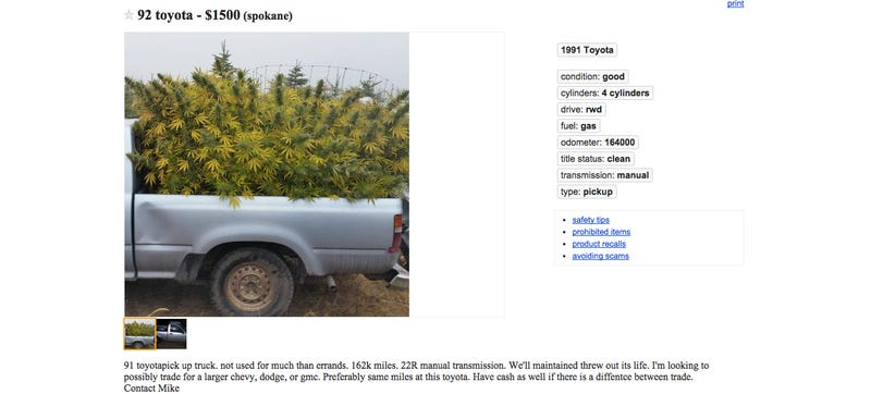 Illustration for article titled Washington State Man Advertises Truck On Craigslist Loaded With Weed