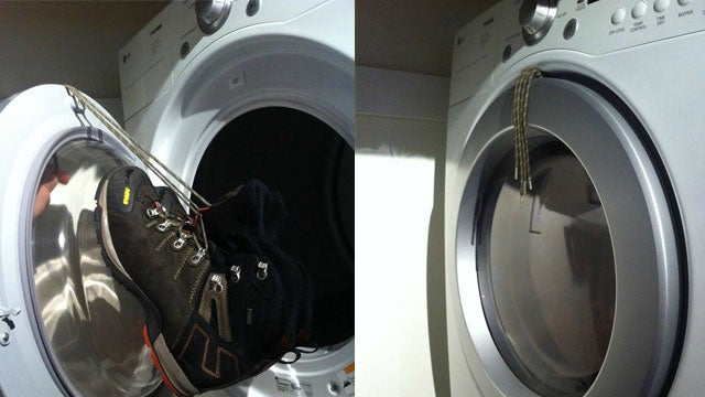 If you hate waiting around for shoes to dry after a day in the snow or rain Reddit user null_value shows how to dry them quickly in a dryer without the ... & Hang Shoes from the Dryer Door to Keep them from Making Noise While ...