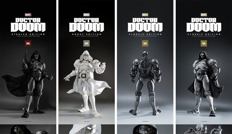 Illustration for article titled 3A Toys' Doctor Doom Comes In Three Shades Of Evil