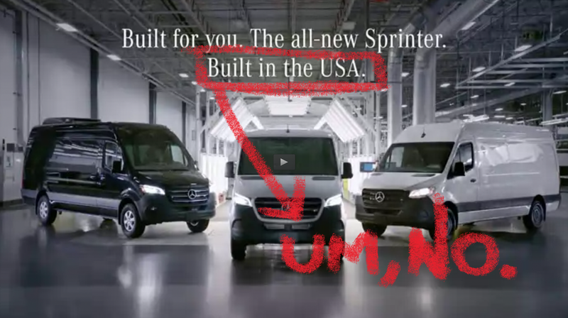 Illustration for article titled Mercedes-Benz Forced to Stop Saying the Sprinter Van Was 'Built in the USA' Because It Really Isn't