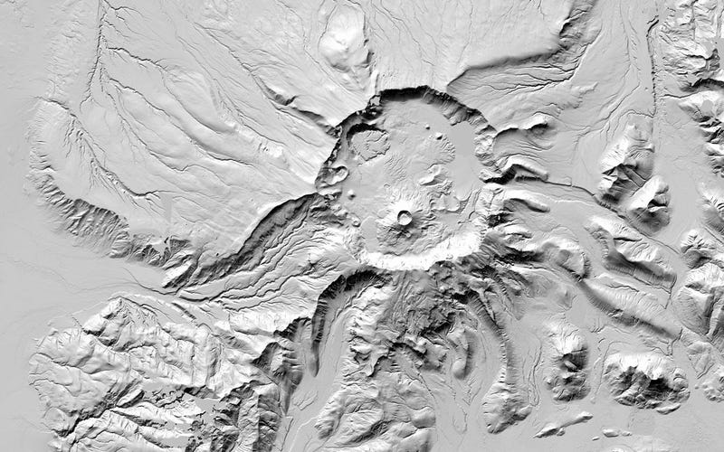 Mount Aniakchak, a volcanic caldera located in Alaska's Aleutian Range. All images: NSF/NGA