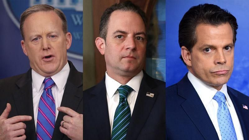 Sean Spicer, Reince Priebus, and Anthony Scaramucci
