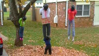 Halloween display at a home at Fort Campbell, Ky., that was deemed offensive before being taken down.ClarksvilleNow