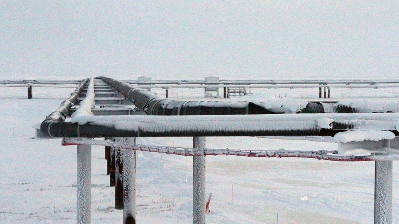 Ice forming on pipelines near the Colville-Delta 5 drilling site on Alaska's North Slope. Photo: AP