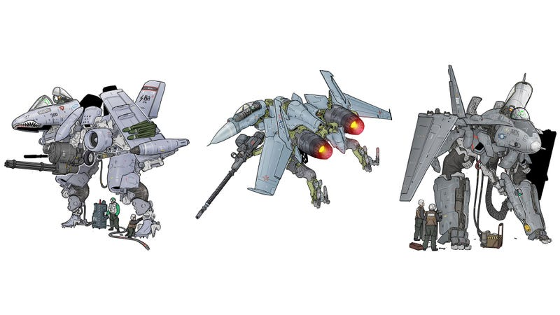 Illustration for article titled Modern Fighters As Transforming Mechs