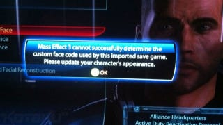 Illustration for article titled Oh Dear. Mass Effect 3's Character Import Isn't Working Properly