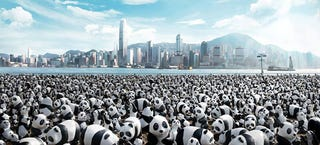 Illustration for article titled 1,600 panda bears invade Hong Kong in terrifying cute overload